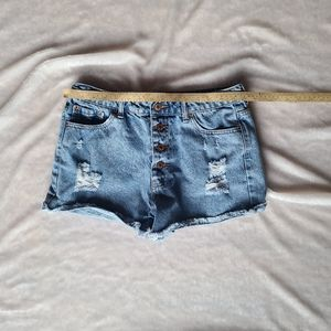 Forever 21 distressed button up Jean shorts